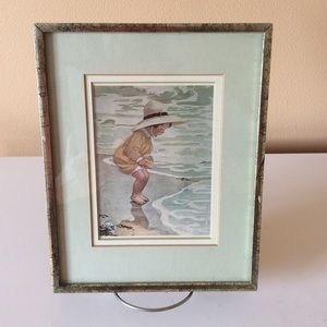 COPY - Vintage Framed and Matted Girl at The Ocean